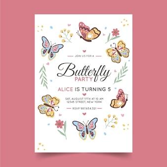 Szablon zaproszenia urodzinowe ręcznie rysowane motyl