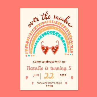 Szablon zaproszenia urodzinowe ręcznie rysowane tęczy