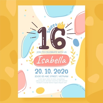 Szablon zaproszenia urodzinowe słodkie szesnaście