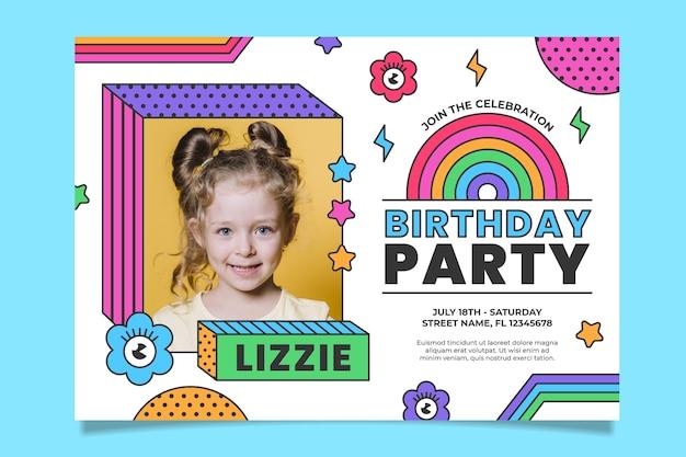 Szablon zaproszenia urodzinowe tęcza ze zdjęciem