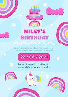 Szablon zaproszenia urodzinowe tęcza