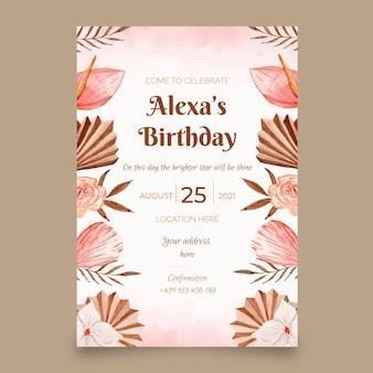 Szablon zaproszenia urodzinowego akwarela boho
