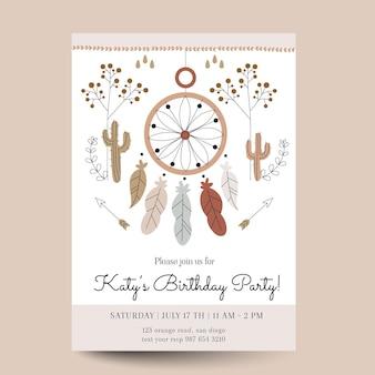 Szablon zaproszenia urodzinowego boho