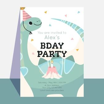 Szablon zaproszenia urodzinowego dinozaura dla dzieci