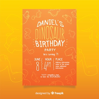 Szablon zaproszenia urodzinowego dinozaura z doodle tło