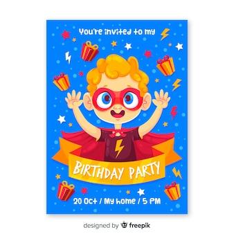 Szablon zaproszenia urodzinowego dla dzieci superbohatera