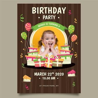 Szablon zaproszenia urodzinowego dziecka