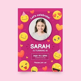 Szablon zaproszenia urodzinowego emoji ze zdjęciem