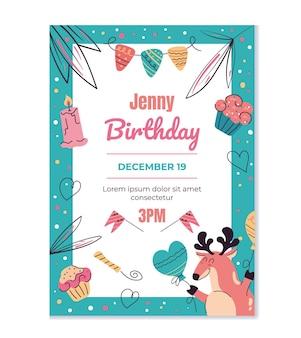 Szablon zaproszenia urodzinowego makieta typografii projekt do druku