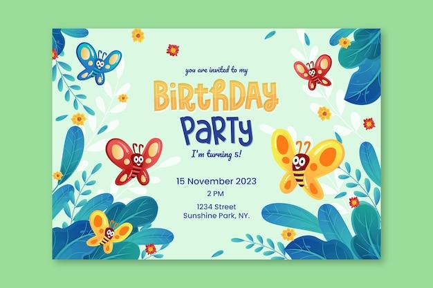 Szablon zaproszenia urodzinowego motyla z kreskówek