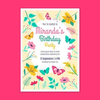 Szablon zaproszenia urodzinowego motyla