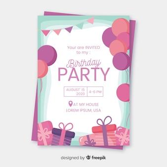 Szablon zaproszenia urodzinowego płaska konstrukcja