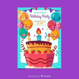 Szablon zaproszenia urodzinowego płaski kształt