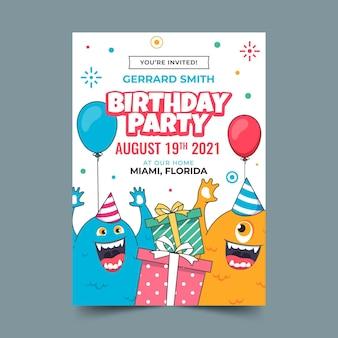 Szablon zaproszenia urodzinowego płaskiego potwora