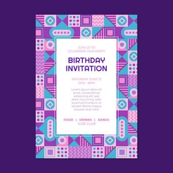 Szablon zaproszenia urodzinowego płaskiej mozaiki