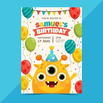 Szablon Zaproszenia Urodzinowego Potwora Darmowych Wektorów