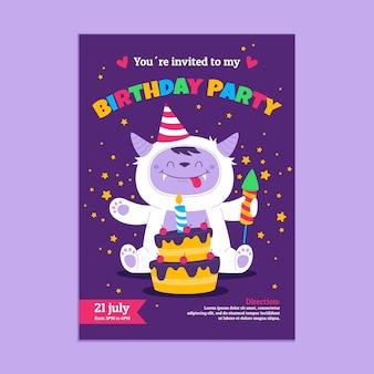 Szablon zaproszenia urodzinowego potwora