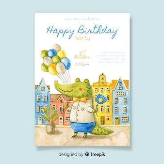 Szablon zaproszenia urodzinowego stylu akwarela
