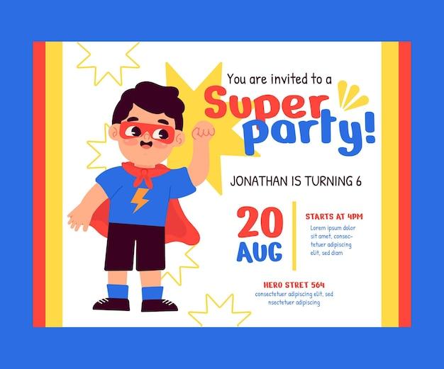 Szablon zaproszenia urodzinowego superbohatera