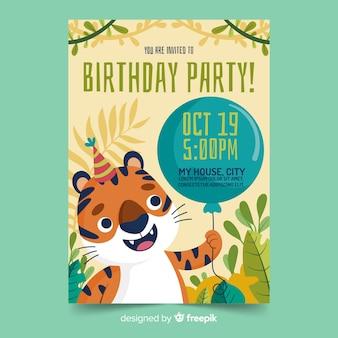 Szablon zaproszenia urodzinowego tygrysa