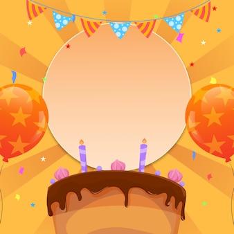 Szablon zaproszenia urodzinowego w stylu płaski