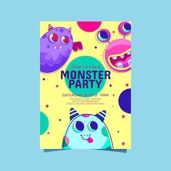 Szablon zaproszenia urodzinowego z potworami z kreskówek
