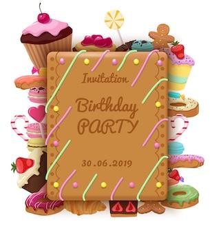 Szablon zaproszenia urodzinowego z prostokątnymi tortami w ramce, makaronikami, pączkami, ciasteczkami, lizakami, rogalikami, babeczkami i słodkimi produktami