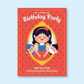 Szablon zaproszenia urodzinowego ze śnieżnobiałą kreskówką