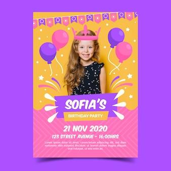 Szablon zaproszenia urodzinowego ze zdjęciem dla dzieci