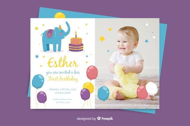 Szablon zaproszenia urodzinowego ze zdjęciem