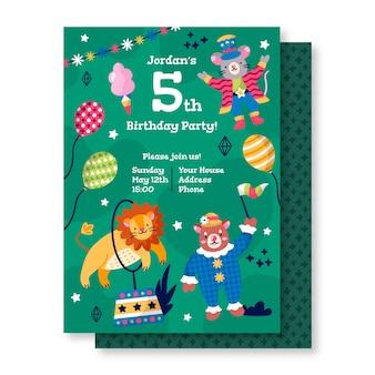 Szablon zaproszenia urodzinowego ze zwierzętami kreskówek