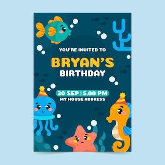 Szablon zaproszenia urodzinowego zwierząt kreskówek