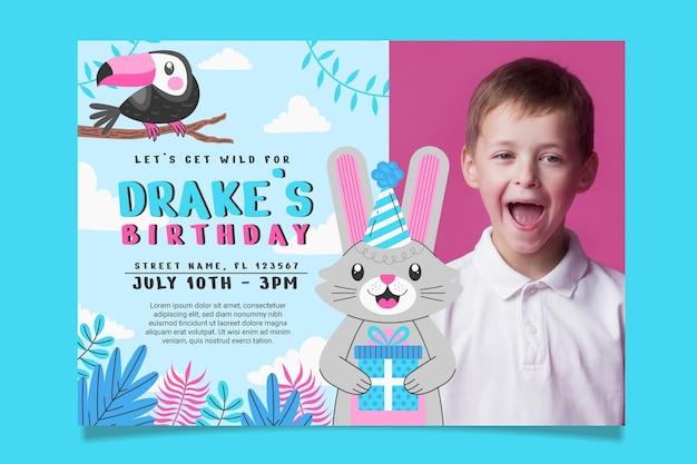 Szablon zaproszenia urodzinowego zwierząt ze zdjęciem