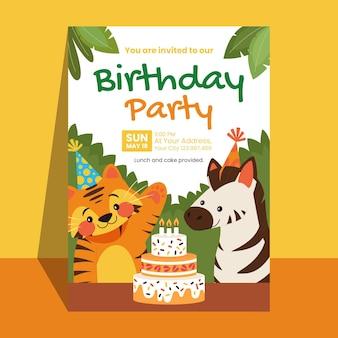 Szablon zaproszenia urodzinowego zwierząt