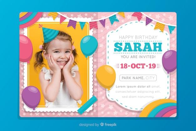 Szablon zaproszenia urodziny dzieci z obrazem
