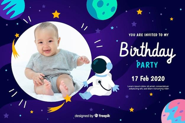 Szablon zaproszenia urodziny dzieci ze zdjęciem