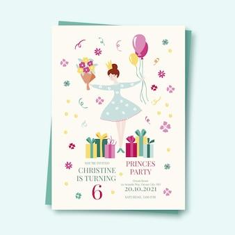 Szablon zaproszenia urodziny dziewczyna