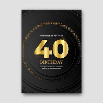 Szablon zaproszenia urodziny elegancki design