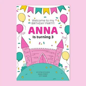 Szablon zaproszenia urodziny księżniczki dzieci