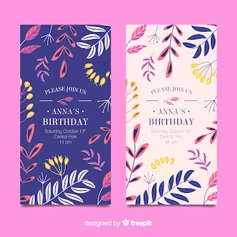 Szablon zaproszenia urodziny kwiatowy