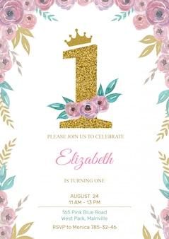 Szablon zaproszenia urodziny małej księżniczki