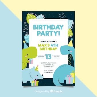 Szablon zaproszenia urodziny w stylu płaski