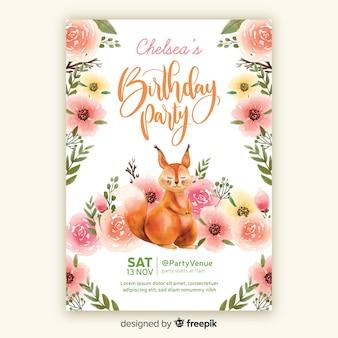 Szablon zaproszenia urodziny w stylu przypominającym akwarele