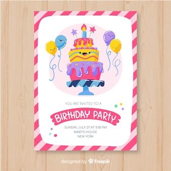 Szablon zaproszenia urodziny w stylu wyciągnąć rękę
