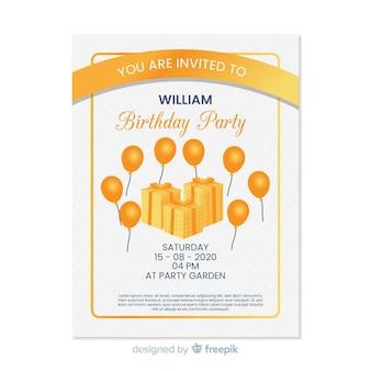 Szablon zaproszenia urodziny żółty w płaskiej konstrukcji