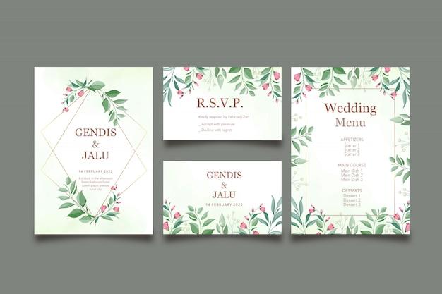 Szablon zaproszenia wesele kwiatowy zestaw z menu