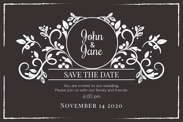 Szablon zaproszenia wesele na tablicy