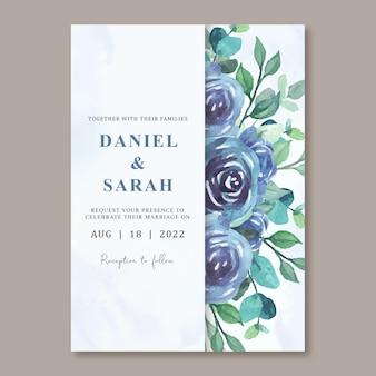 Szablon zaproszenia z piękną niebieską akwarelą róży