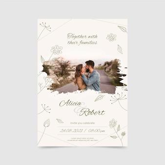 Szablon zaproszenia zaręczynowego ze zdjęciem