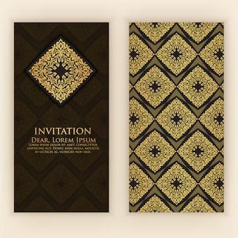 Szablon zaproszenia ze złotą dekoracją